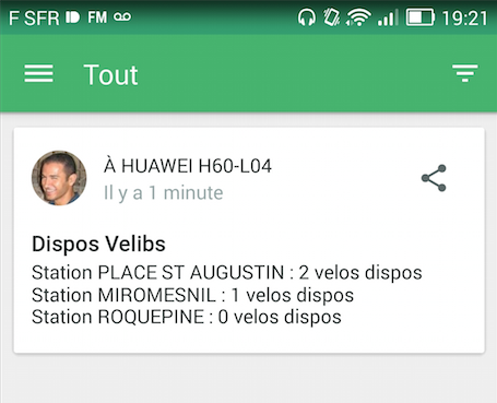 Notifications Vélib